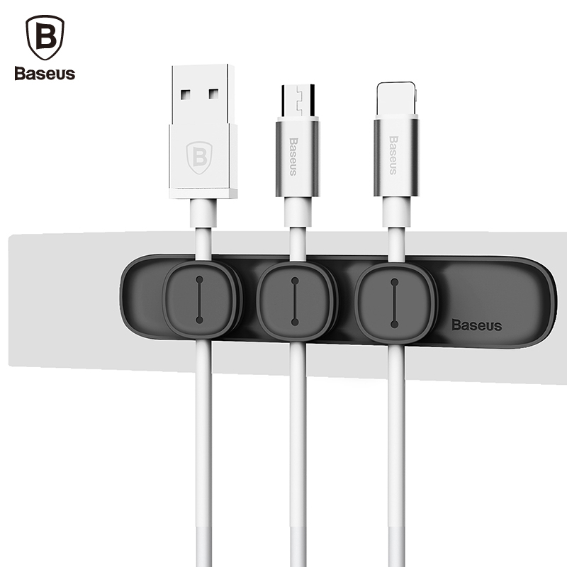 Baseus Peas Magnetic Cable Clip USB Cable Organizer Clamp Desktop Workstation Charging Wire Cord Management Cable Winder