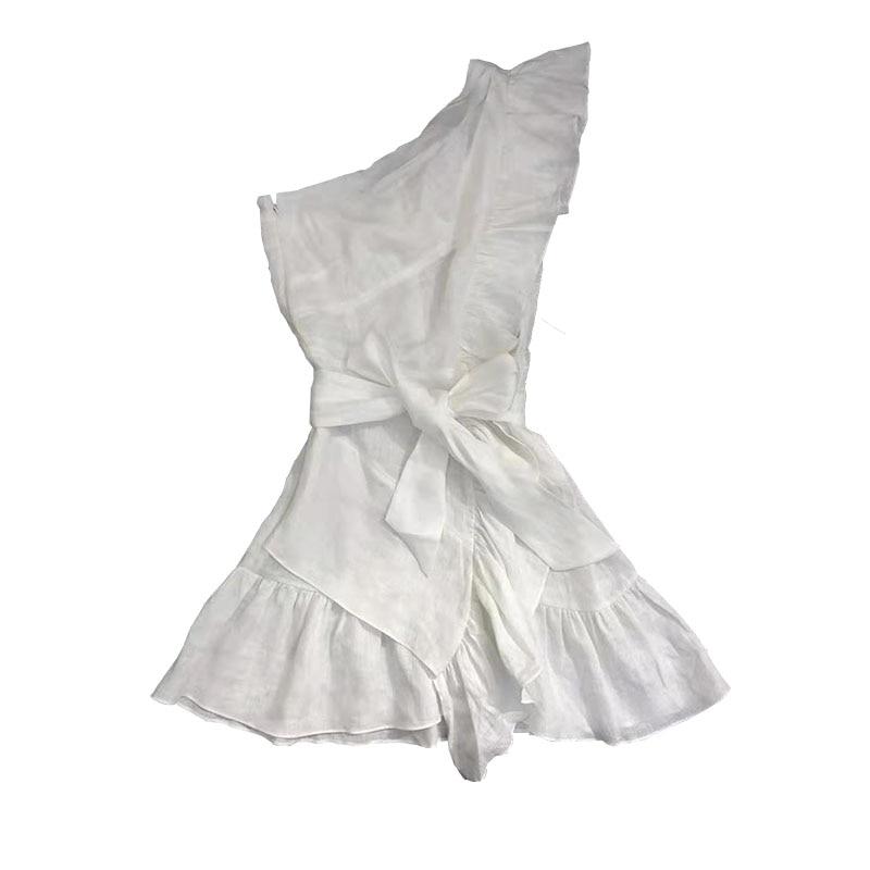 Blanco negro Teller Lino Mini vestido en el hombro con volantes sin mangas cintura cinturón atado moda Vestido corto Mujer-in Vestidos from Ropa de mujer    3