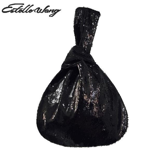 Estelle Wang Casual Black Sequins Tote Ladies Fashion Pvc Top-handle Small Bags  Handbags High Quality Clutch Evening Bag Japan 77060ba13726