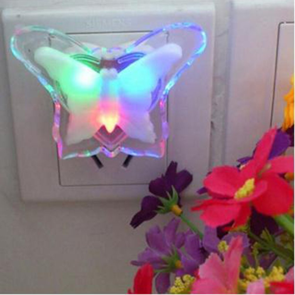 US Plug Creative LED Night Light Butterfly Shape Night Lamp Romantic Socket Light Energy Saving Night Light Room Decoration Lamp
