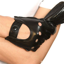 2019 Men Genuine Leather Glove Breathable Wrist Black Sheepskin  Fashion Driving Gloves Free Shipping M018W-5