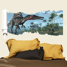 Childrens room dinosaur wall stickers removable cartoon decals kids baby bedroom poster wallpaper