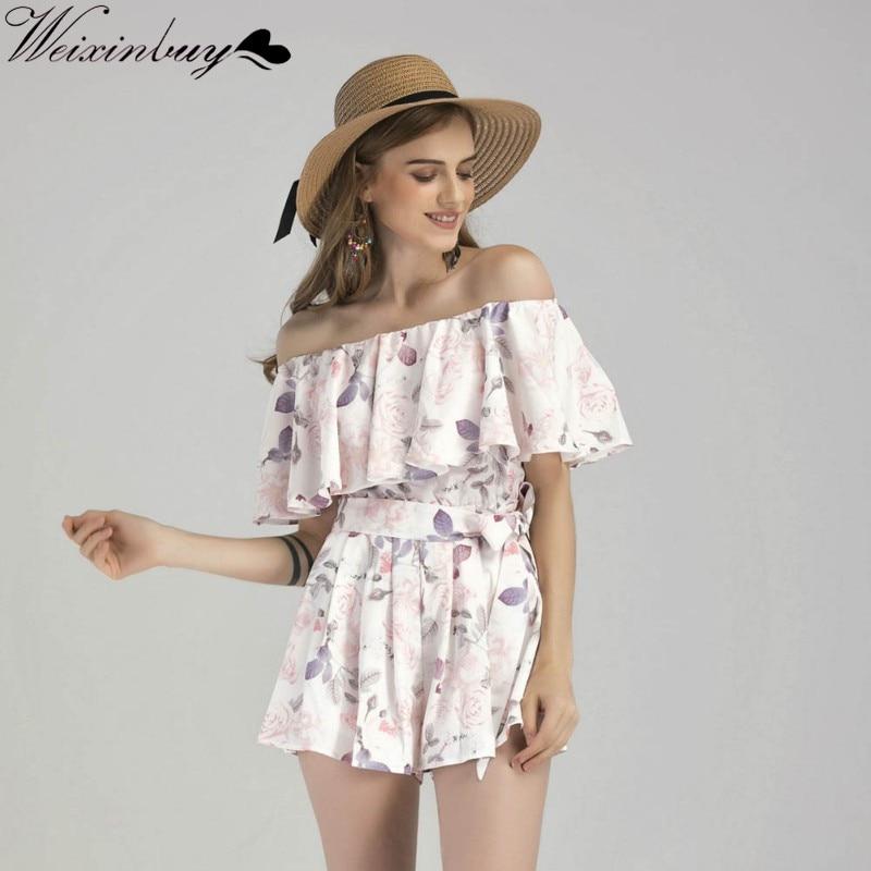 WEIXINBUY Women Playsuit Party Off Shoulder Ruffles Floral Print Sweet Romper Rompers Women Rumpsuit Fashion Summer Jumpsuit Y1