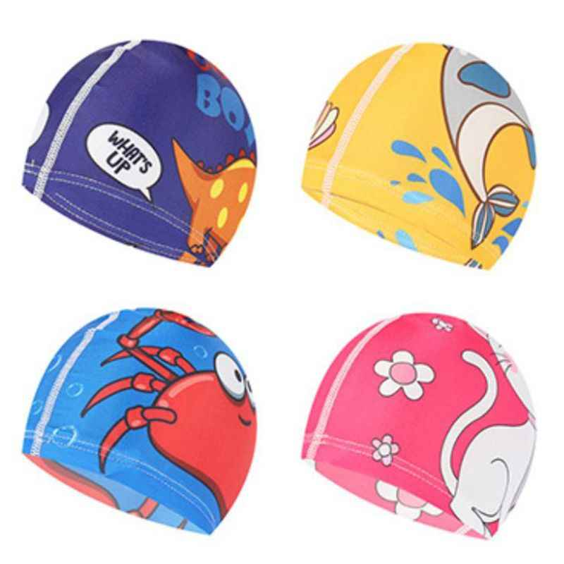 Children Elastic Cartoon Printed Swimming Caps Sports Pool Cute Bathing Swim Hat for Children/Kids/Boys/Babys Swimming Caps