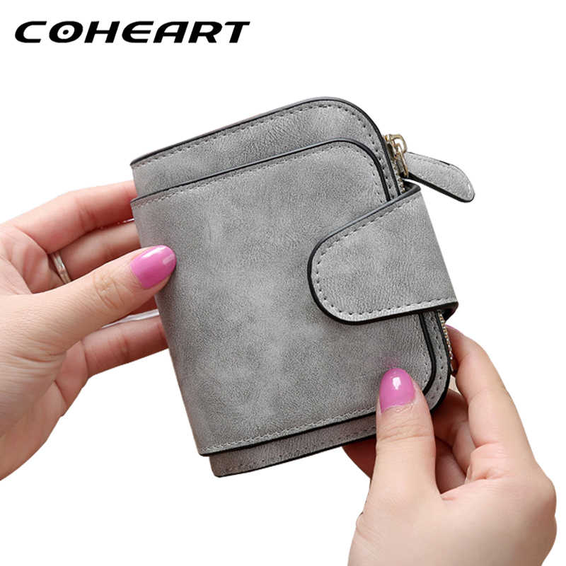COHEART Wallet Female Fashion Vintage Women Wallet Small Purse Leather Multifunction card holder zipper coin pocket Top Quality