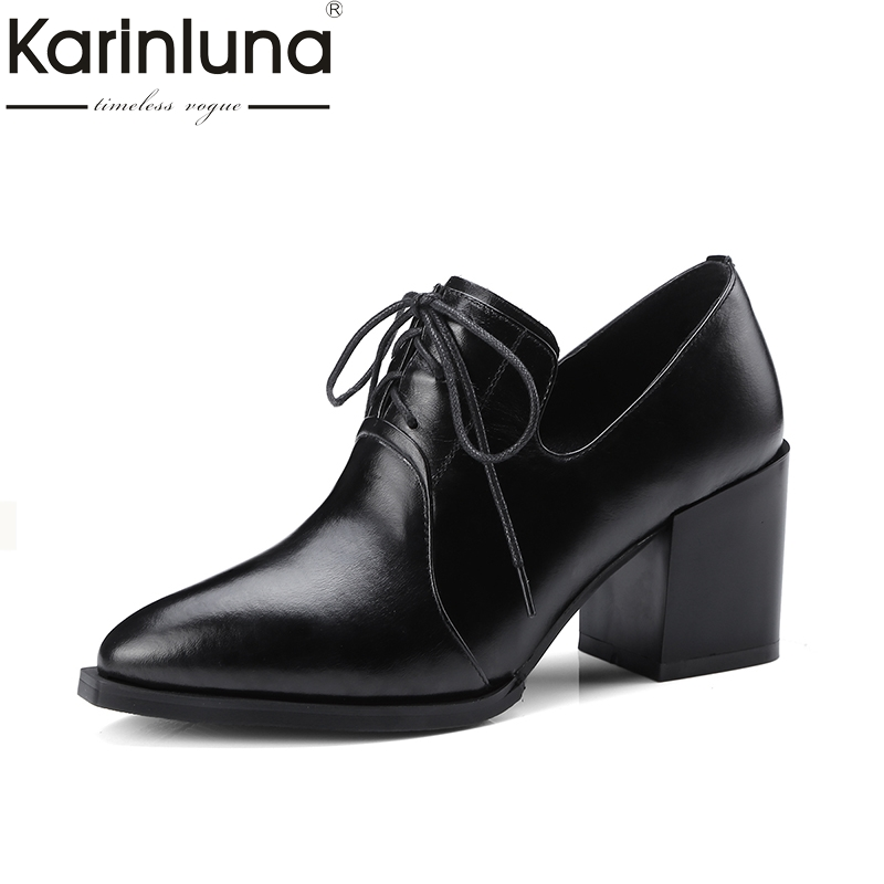 KARINLUNA Genuine Leather Large Size 34-42 Women Pumps Thick Heels Pointed Toe Office Ladies Shoes Woman Party Fashion Shoes krazing pot shallow fashion brand shoes genuine leather slip on pointed toe preppy office lady thick high heels women pumps l18