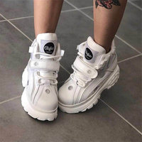 Brand luxury shoes designers white sneakers women 2019 New spring Genuine Leather chunky Sneakers mode Casual shoes women