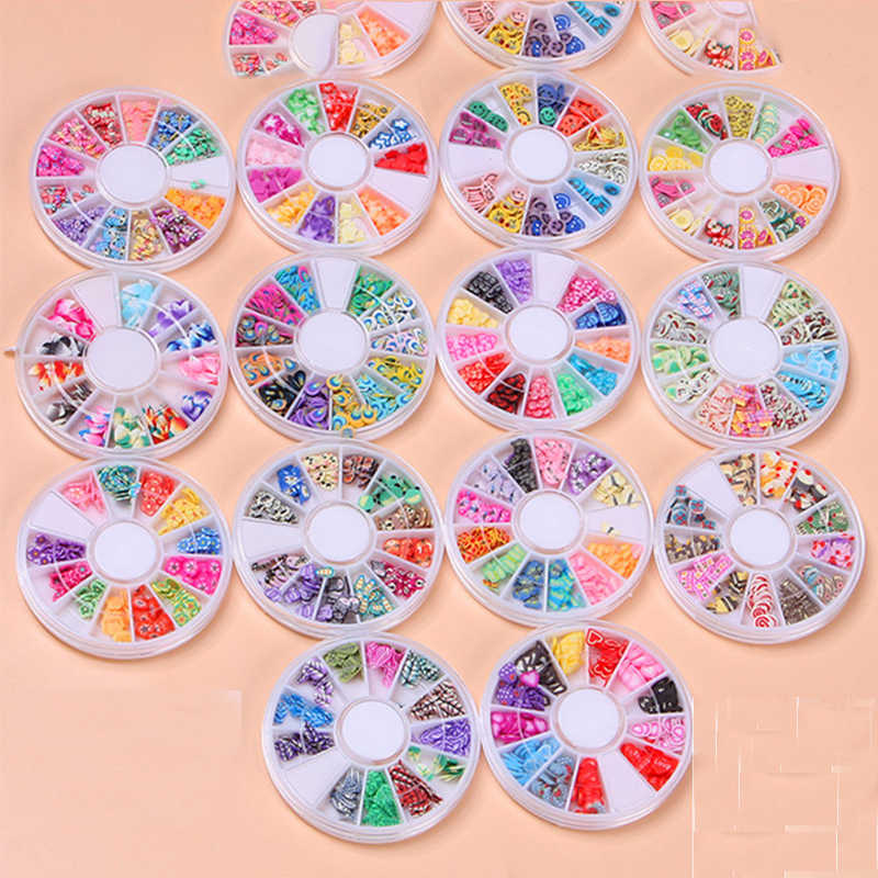 1Box Fruit slices Filler For Nails Art Tips Slime Fruit For Kids Lizun DIY Slime Accessories Supplies Decoration Soft Pottery