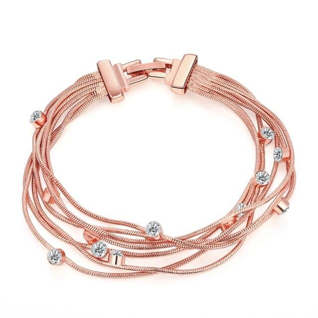 2017 Hot Bracelets Charms Rose Gold Color Multi Lines Best Friend