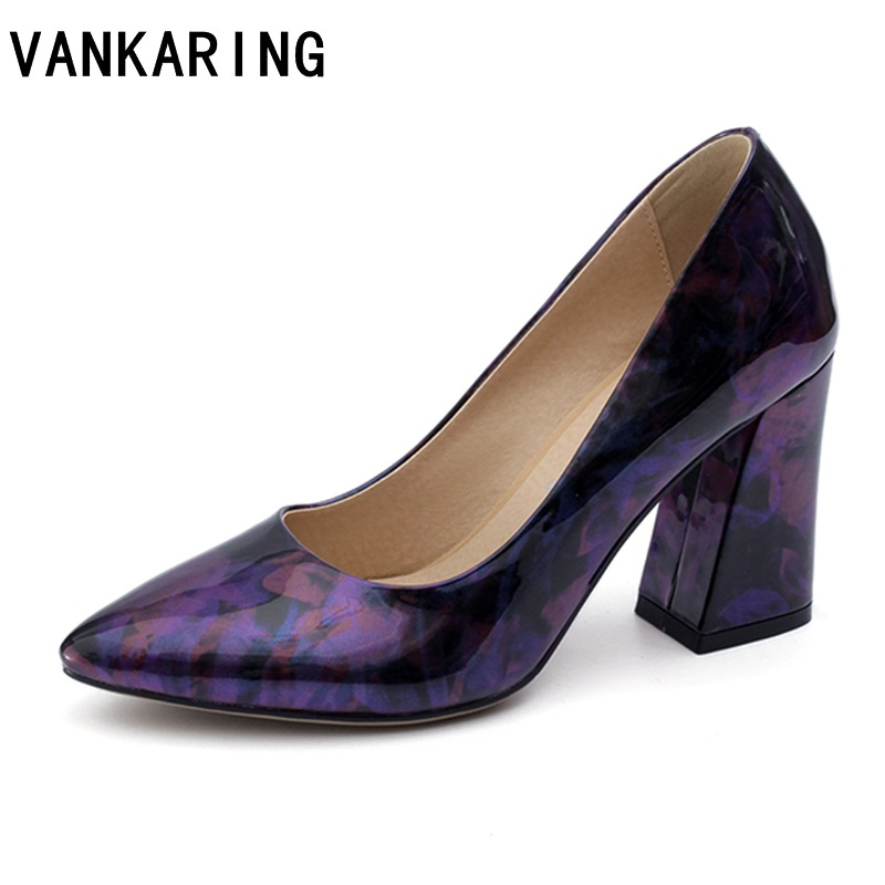 VANKARING brand shoes fashion pumps patent leather dress shoes women pumps high heel platform casual office lady shoes plus size taoffen women high platform shoes patent leather star lady casual fashion wedge footwear heels shoes size 33 48 p16184