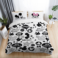 Black and White Mickey Minnie Mouse 3D Printed Bedding Sets Adult Twin Full Queen King Size Bedroom Decoration Duvet Cover Set