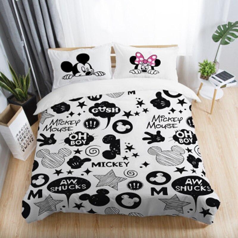 Ensembles de literie imprimés 3D Mickey Minnie Mouse noir et blanc ensemble de literie adulte double reine roi taille chambre décoration housse de couette