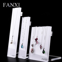 FANXI Fashion Acrylic White Necklace Display Shelf Stand Jewelry Organizer Box Showcase Pendant Holder Rack with Hooks Exhibitor