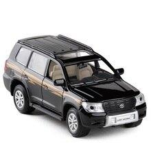JackieKim 1:32 Toyota Land Cruiser Acousto Optic Pull Back Diecast Brinquedos Modelo de Carro
