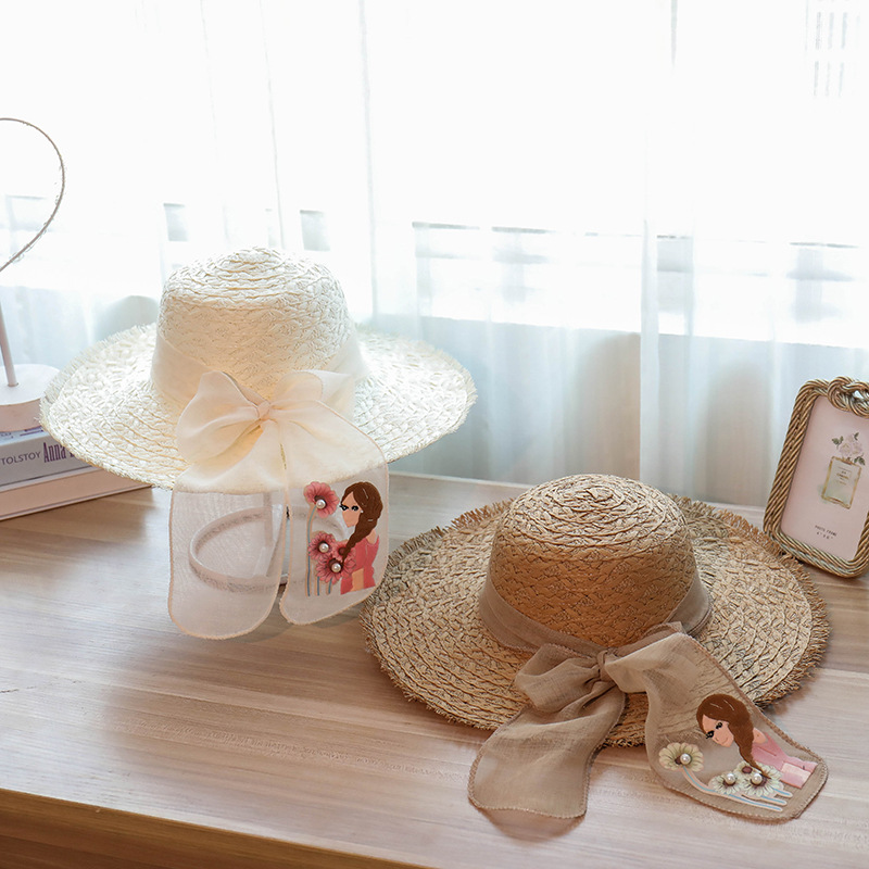 2018 Spring Wholesale and Retail Fashion Women Wide Large Brim Floppy Summer Beach SunHats Straw Cap with Big Girl Lace Bow