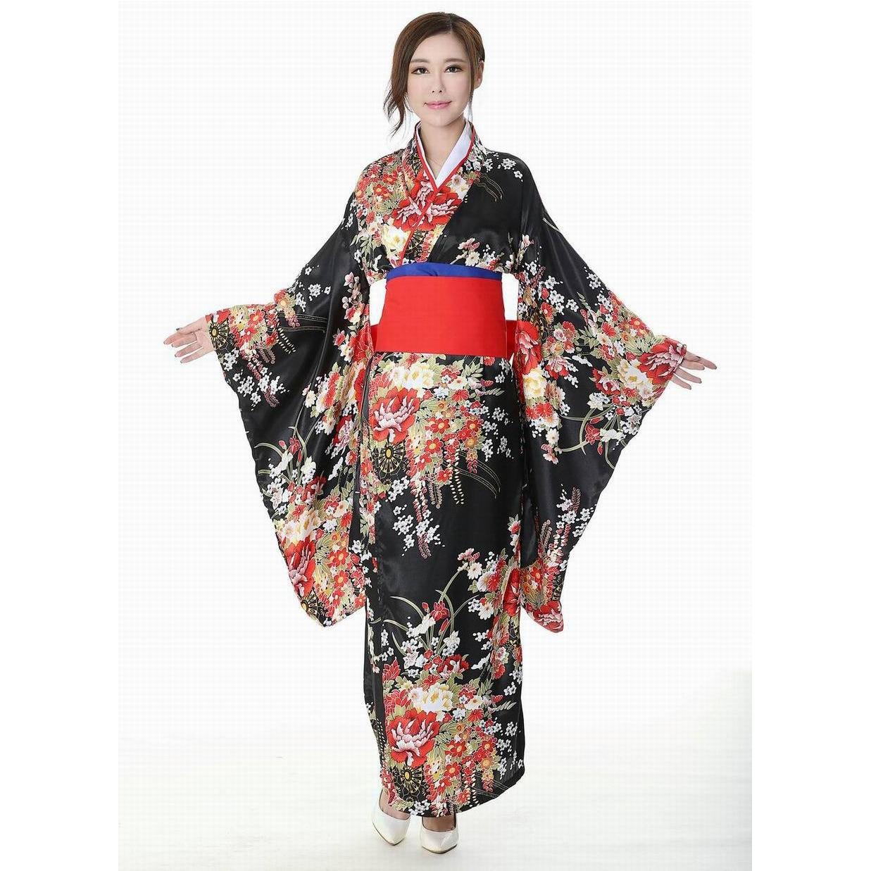 Japanese Traditional Girl Flower Geisha Kimono Vintage Women Stage Show Costume Cosplay Hell Girls Enma Women Sakura Suit