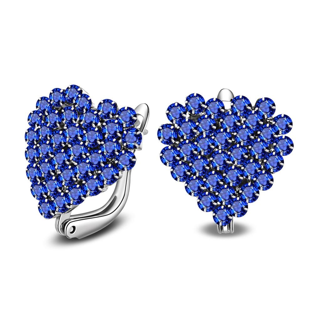 ER 2017 Trendy Elegant Simple Earrings Girl Blue Crystal Rhinestone Love Heart Earring Bride Deluxe Earings Woman Jewerly SE049