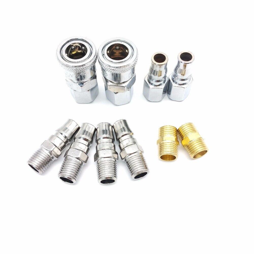 10 piezas acoplamiento rápido accesorios 1/4 ''manguera de aire conector accesorios neumático de montaje rápido enchufe para neumáticos