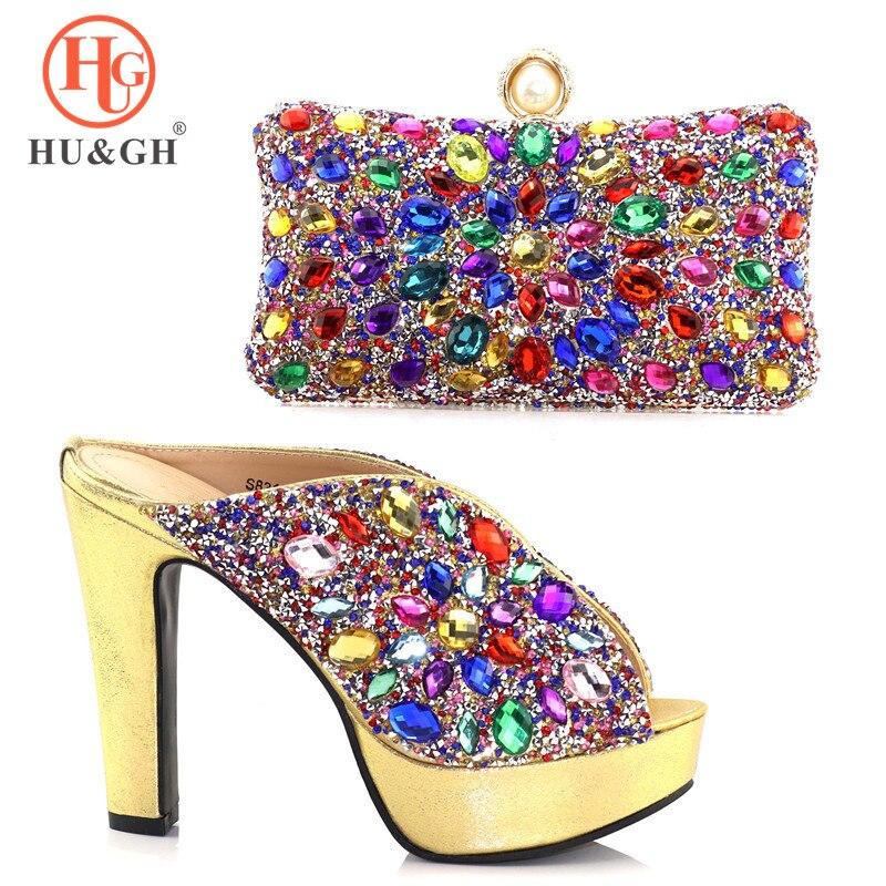 Nouvelles chaussures de Style italien avec des sacs assortis femmes africaines chaussures et sacs ensemble pour la fête de bal décoré avec des pierres chaussures de mariage
