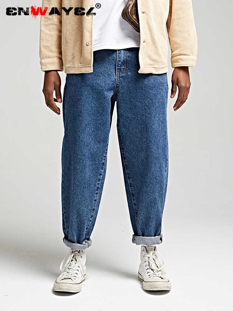 89318f9e9d ENWAYEL Brand 2019 New Fashion Spring Streetwear Style Solid Jeans Hip Hop  Snow Wash Denim Loose