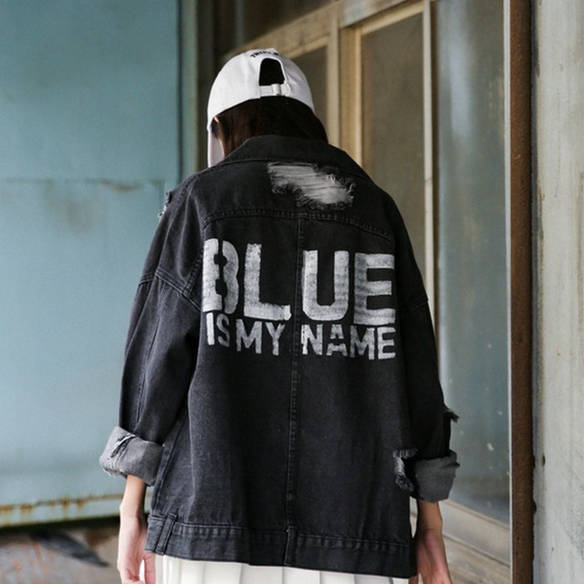 eac26ea6a US $24.47 28% OFF Black Jackets Streetwear Frayed Denim Jackets Women  Straight Jeans Coat Outwear Back Printing Design Fashion Bomber Jackets-in  Basic ...