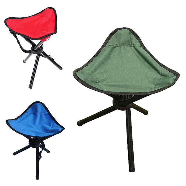 1 PC Outdoor Fold Chair Camping Hiking 3 Legs Tripod Folding Stool Chair  Foldable Picnic Fishing