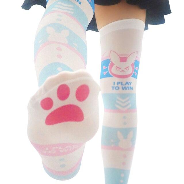 a50222482 OW D.VA Cosplay Over Knee Socks Women Girls DVA Lolita Long Socks 6 styles  For Halloween Party