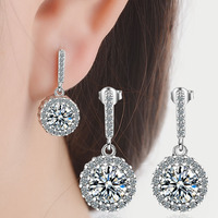2019 fashion New arive Titanium steel earring for woman jewlery silver color High Grade Circular Zircon gift to choose