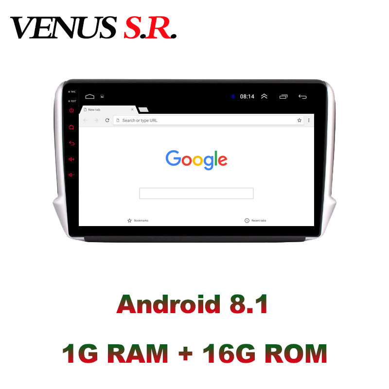 VenusSR <font><b>Android</b></font> 8.1 2.5D car dvd for <font><b>peugeot</b></font> 2008 <font><b>208</b></font> Radio 2014-2018 multimedia headunit GPS Radio stereo gps navigation image