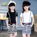 5-14 Years Girls Summer Dresses 2016 Teenage Girls Kids Clothes Casual Bohemian Girls Short Sleeve Striped Dress Beach Dresses