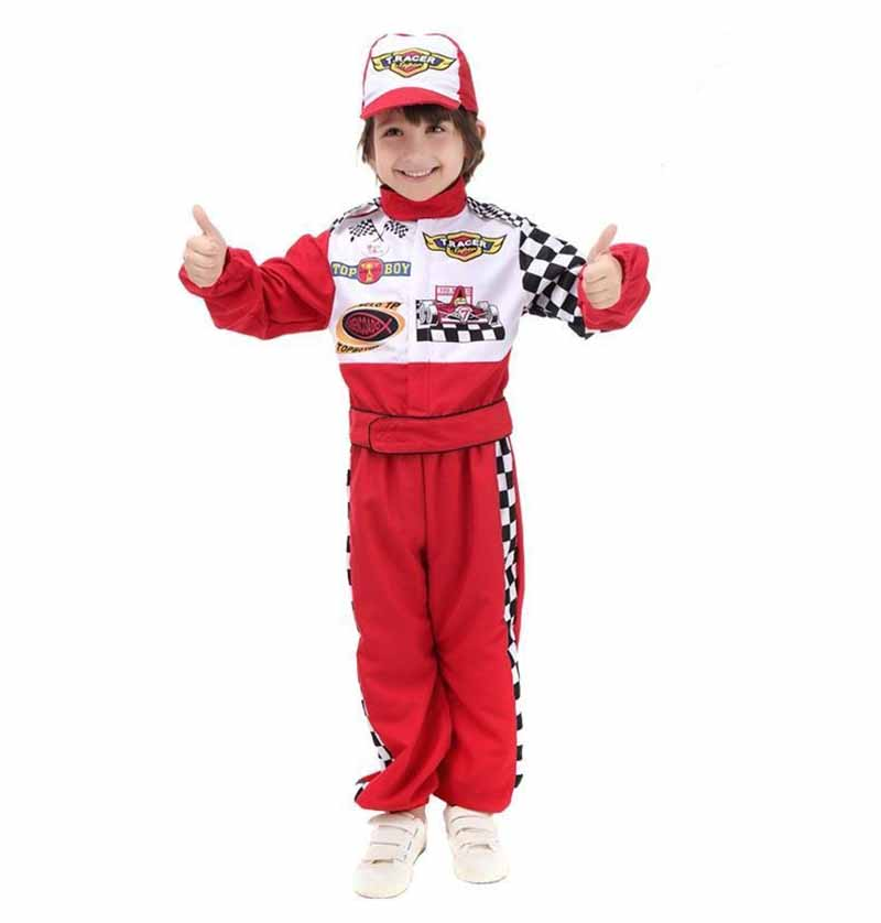 Children's Halloween Cosplay Costume Red Race Car Driver Uniform Boys Racing Driver New Year Costume Fancy Dress Gift For Boys
