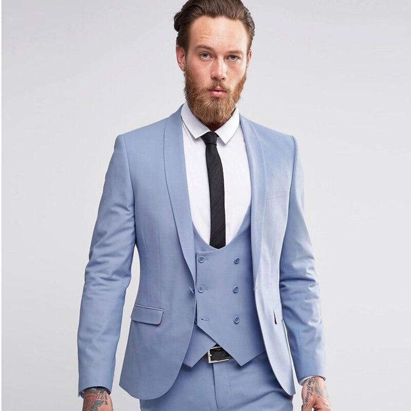 Gris claro los hombres trajes de boda Slim Fit 3 unidades smoking ... d2fc2e80ca8e