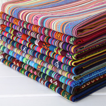 150cm Wide Ethnic Bohemian Style Thick Striped Fabric Upholstery Canvas Cotton Fabric Boho Home Decor Fashion Craft Supplies