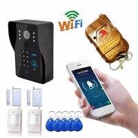 Wifi video door phone doorbell Multi ways unlock door with Magnetic contacts door sensor Pir sensor alarm Accessories