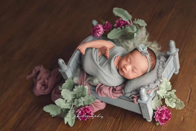Accesorios de fotografía recién nacido cama de madera pequeña diseño original cuatro colores opcional cama de bebé plegable y extraíble cama