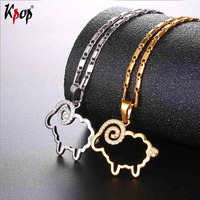 Kpop White Cubic Zirconia Cute Sheep Pendant Necklaces Gold Silver Color Fashion Jewelry Necklace For Women