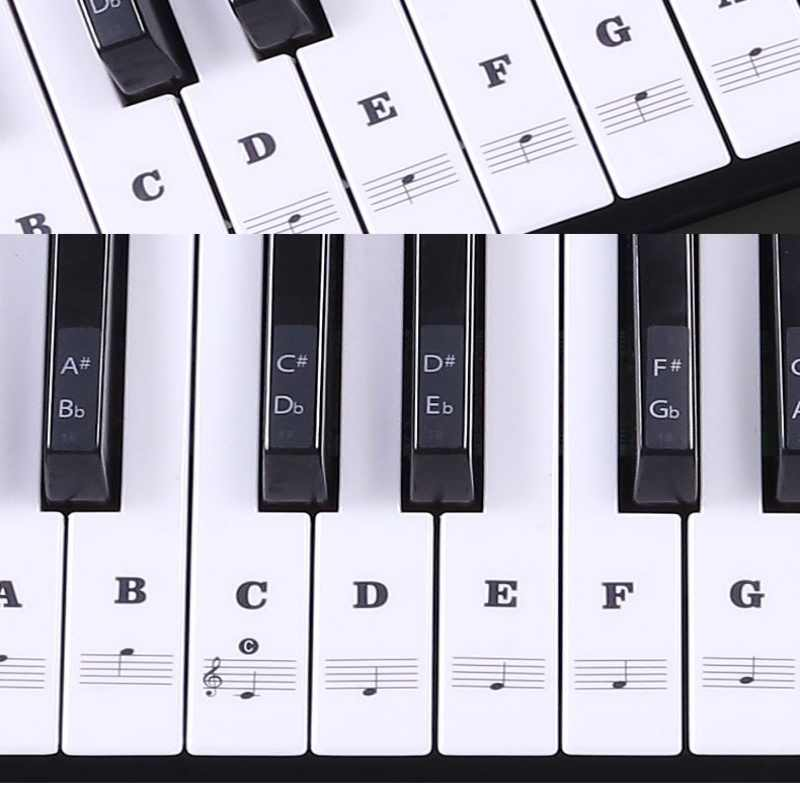 Multicolor Transparante Piano Toetsenbord Sticker 54/61 Sleutel Elektronische Keyboard Piano Sticker 88 Key Piano Stave Opmerking Sticker