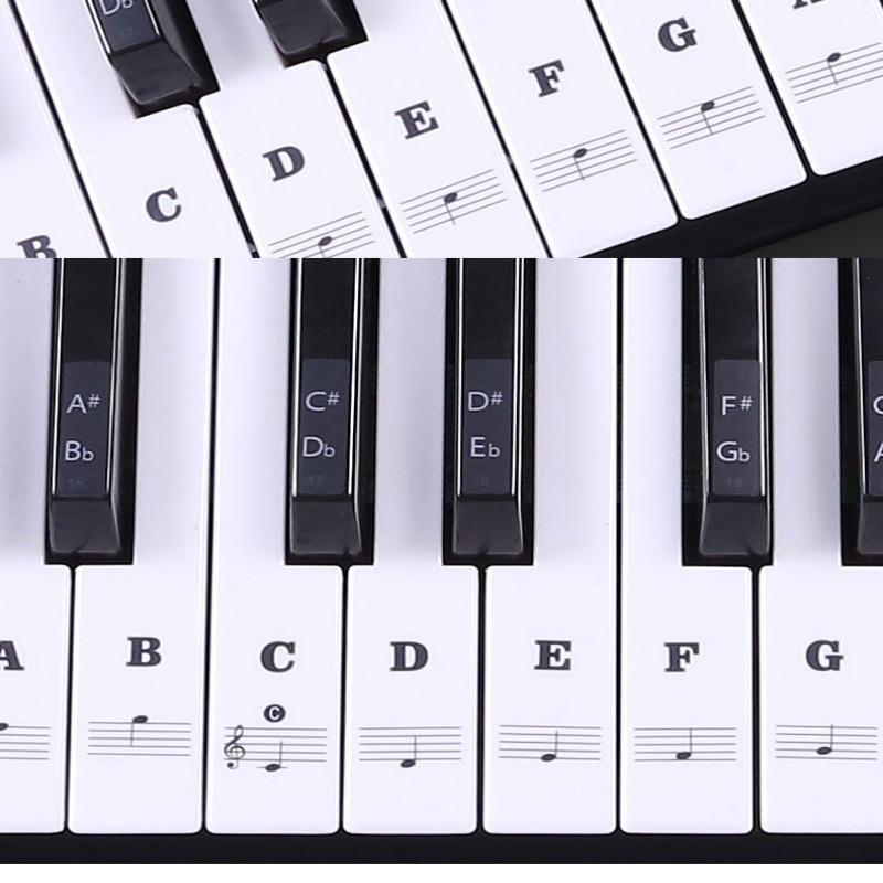 Multicolor Transparent Piano Keyboard Sticker 54/61 Key Electronic Keyboard Piano Sticker 88 Key Piano Stave Note Sticker