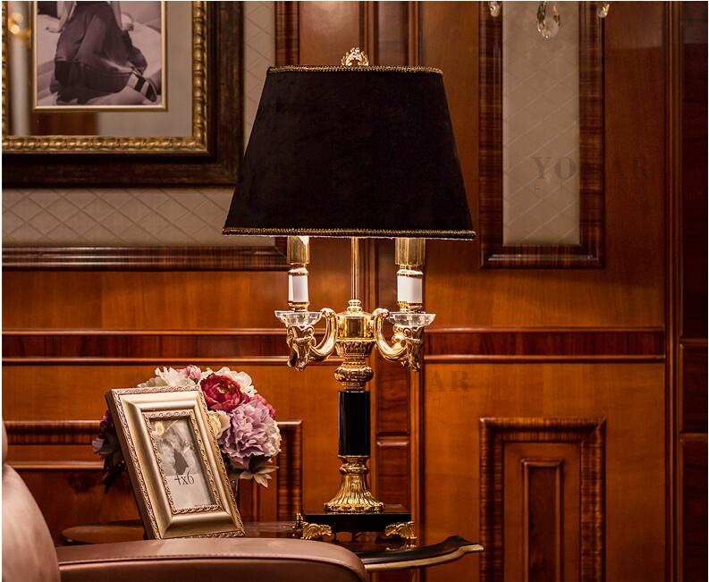 High quality Luxury fashion black crystal table lamp ...