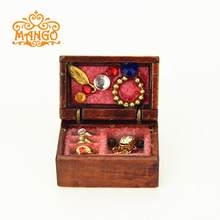 Wood 1:12 Miniature Dollhouse Jewelry Box Kit Play Doll House Bedroom Furniture Decor Accessoris Toy(China)