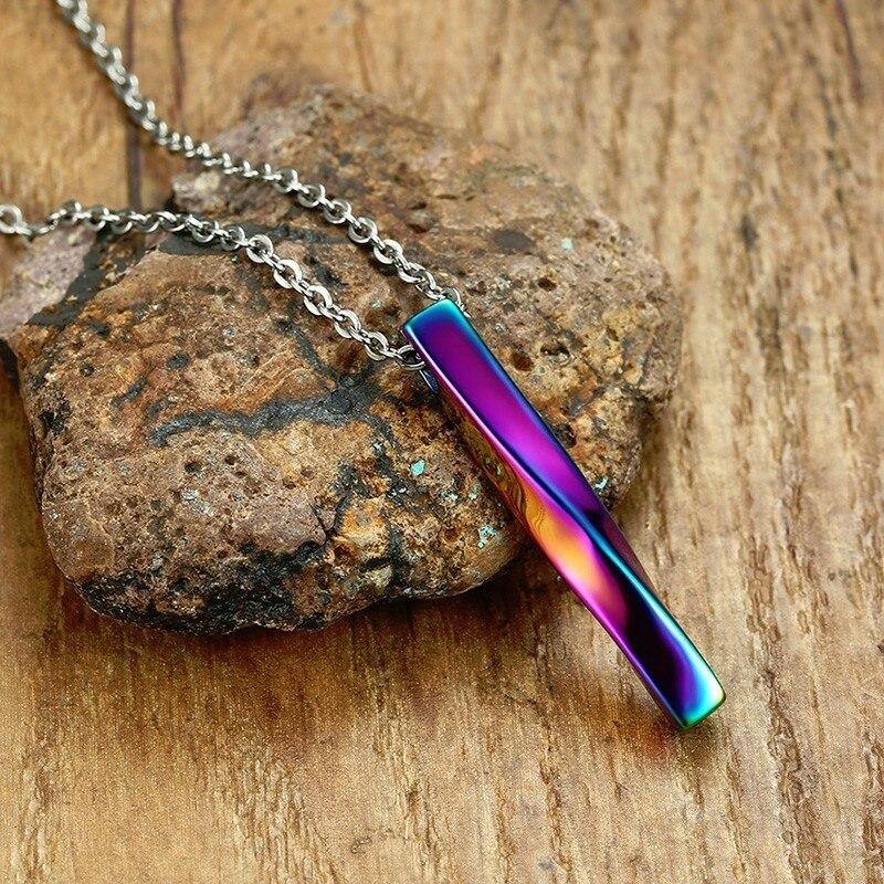 Platz Twisted Spalte Anhänger Halskette für Männer Edelstahl Männlich Weiblich Paare Schmuck Oxidation Regenbogen Silber Gold Ton