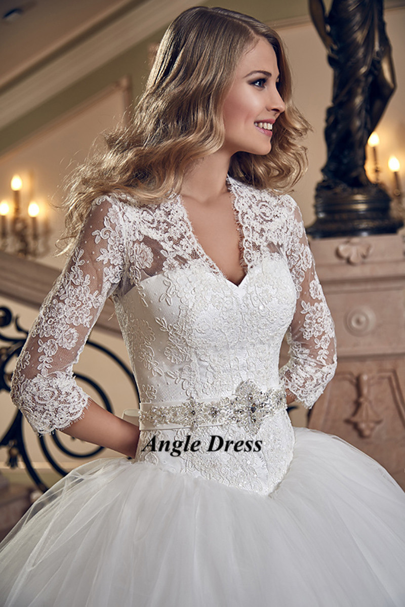 Lace Wedding Dress 3 4 Sleeve Ball Gown Bridal Dresses Corset Back Gowns Crystal Belt Robe De Mariee 2016 Abiti Da Sposa In From