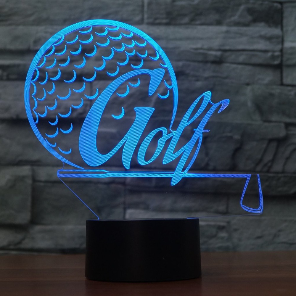 Creative 3D Led Bedroom Decor Sports Desk Lamp 7 Colorful Golf Modelling Night Light Usb Golf Enthusiast Gifts Lighting Fixture