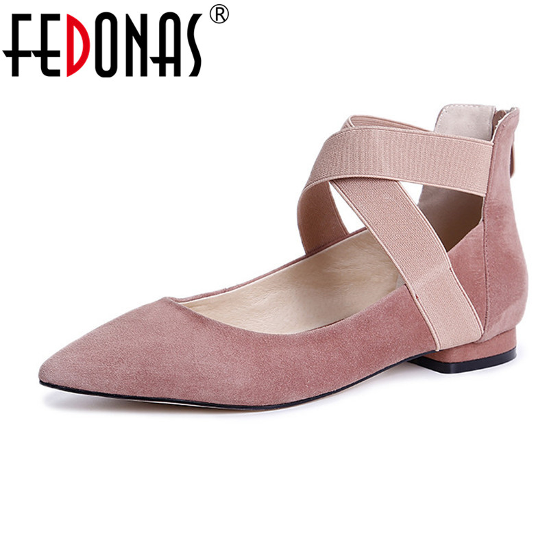 FEDONAS 2018 New Flats Shoes Women Spring Autumn Suede High Quality Shoes Woman Vintage Classic Pointed Toe Shoes Female Flats new fashion high quality vintage women flat shoes women flats and women s spring summer autumn shoes pointed single shoes