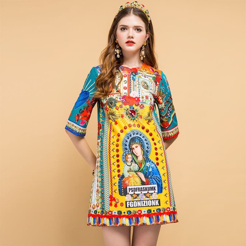 Baogarret Summer Fashion Designer Dress Women 39 s Short Sleeve Beading Character Print Elegant Vintage Ladies Loose Dresses in Dresses from Women 39 s Clothing