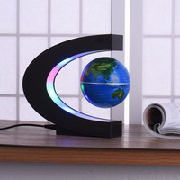 C Shape Black Blue LED World Map Home Decor Electronic Magnetic Levitation Floating Globe Antigravity LED