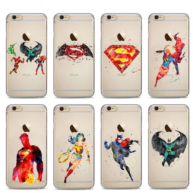 sports shoes 9d82e b00a3 US $1.52 |Batman Superman Wonder Woman Justice League DC SuperHero  Watercolor Soft Silicone Phone Case For iPhone X 7 8Plus 6S 6Plus 5S SE-in  Fitted ...