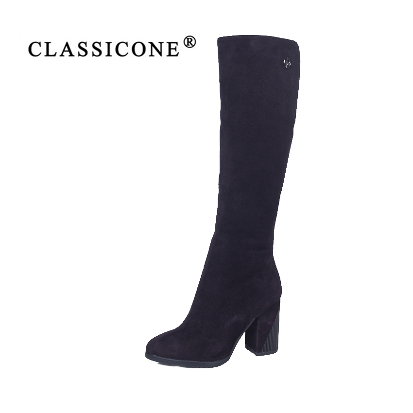 CLASSIOCNE2018 shoes woman snow high boots winter genuine leather warm wool high heels brand fashion style