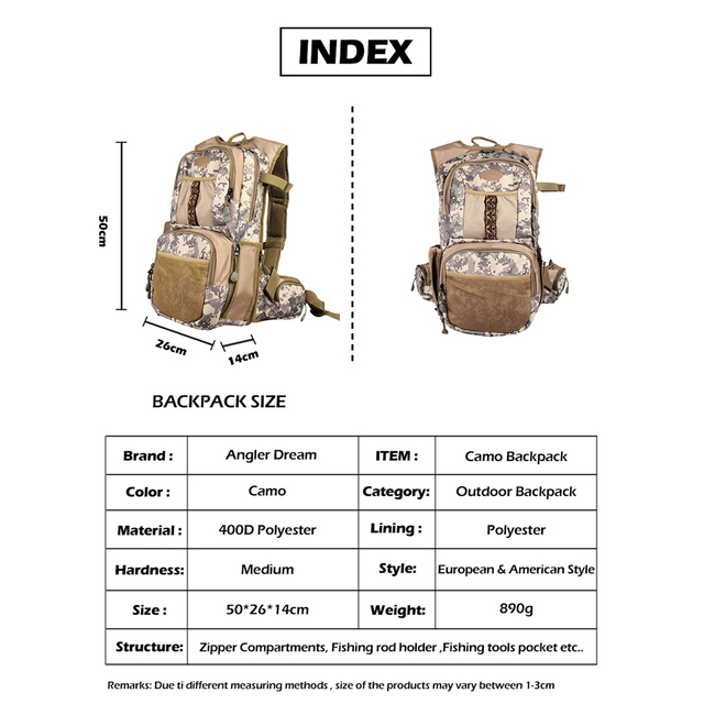 Camo Fly Fishing Back Pack Adjustable Size Outdoor Sports Fishing Bag