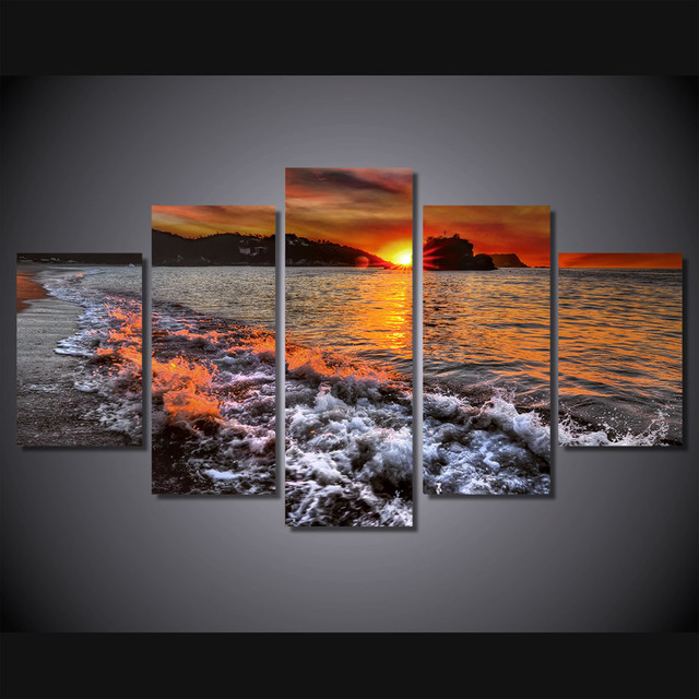 5 pcs set framed hd printed sunset beach sea wave wall art for kid room